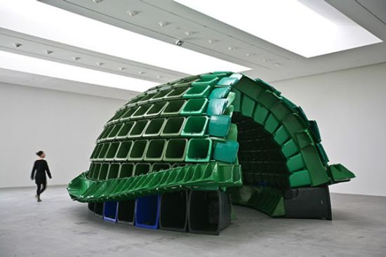 Brian Jungen's 'Carapace' 2009 made from industrial waste bins, displayed at the Museum of the American Indian